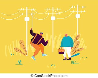 Electrician Workers with Tools and Equipment Doing Maintenance of Electric Transmission Towers. Energy Station Powerline in City. Telephone or Electricity Line Poles. Cartoon Flat Vector Illustration