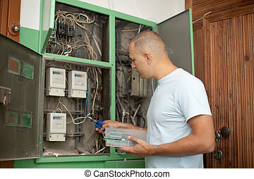 electrician working with electric