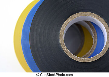 Electricians Insulation Tape stacked isolated on white ...