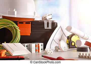 electrician's, matériel de bureau, fenêtre, électrique, fond, bureau, vue frontale