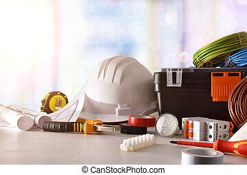 electrician's, matériel de bureau, fenêtre, électrique, fond, devant, table, vue