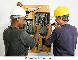 Electricians Repair Panel - Electricians repairing breaker...