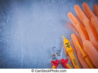 Electricians rubber gloves insulated wire strippers ...