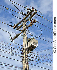 electricidad, azul, cielo, pilón