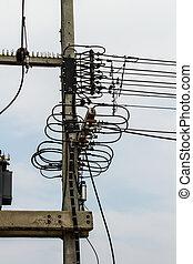 electricidad, azul, poste, cielo