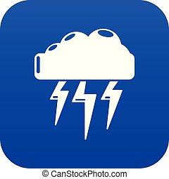 electricidad, azul, vector, atmosférico, icono