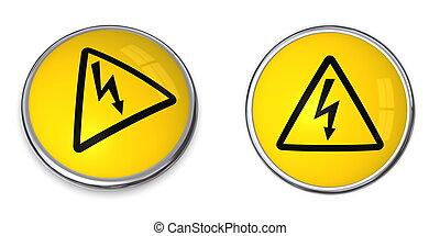 electricidad, botón, símbolo