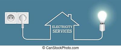 electricidad, cartel, plantilla, vector, bandera, diseño, ...