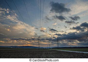 electricidad, cielo, pilones