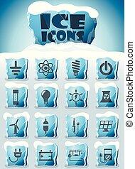 electricidad, conjunto, icono