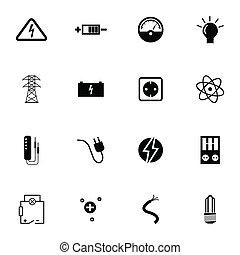 electricidad, conjunto, negro, vector, iconos