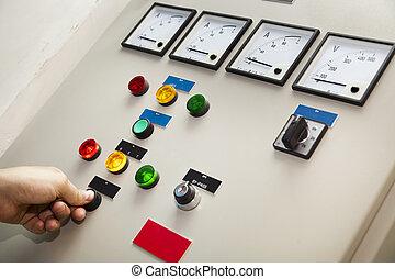 electricidad, control, monitor, y