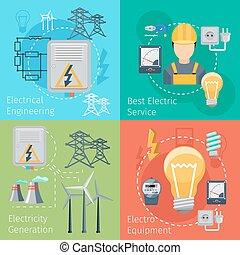 electricidad, energía, conceptos, vector, conjunto
