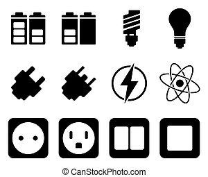 electricidad, energía, conjunto, icono