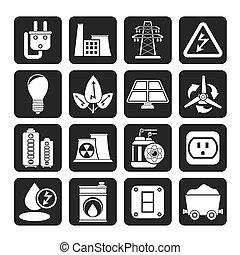 electricidad, energía, potencia, icono