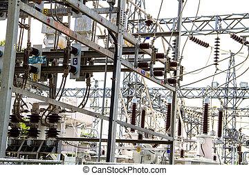 electricidad, estación, potencia