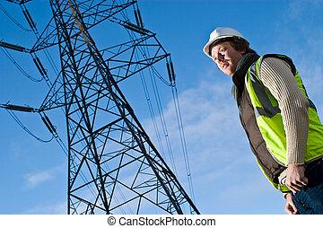 electricidad, frente, pilón, hombre
