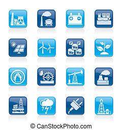 electricidad, fuente, energía, iconos