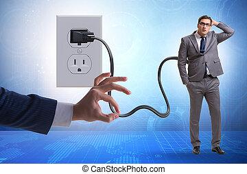 electricidad, hombre de negocios, enchufe, accionado, ser