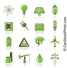 electricidad, industria, potencia, icono