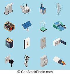 electricidad, isométrico, conjunto, iconos