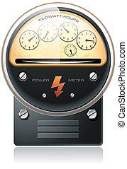 electricidad, mostrador, potencia, hydro