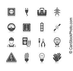 electricidad, negro, icono