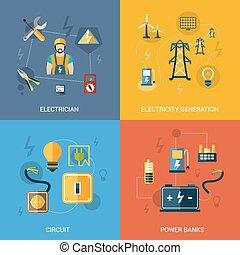 electricidad, plano, conjunto