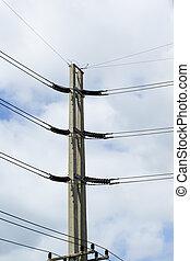 electricidad, poste, cielo, Plano de fondo