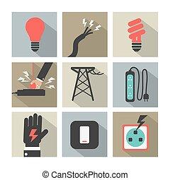 electricidad, potencia, iconos, set.