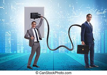 electricidad, ser, accionado, hombre de negocios, enchufe