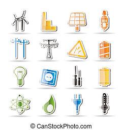electricidad, simple, energía, potencia
