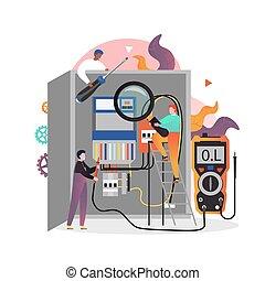 electricidad, tela, sitio web, vector, servicios, página, ...