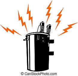 electricidad, transformador, retro