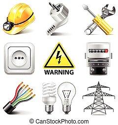 electricidad, vector, conjunto, iconos