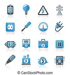 electricidad, y, energía, iconos