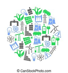 electricidad, y, energía, iconos, y, símbolo, en, círculo, eps10