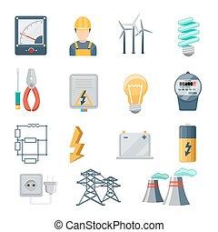 electricidad, y, potencia, industria, iconos, plano, vector, conjunto
