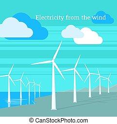 electricidade, apartamento, desenho, vento