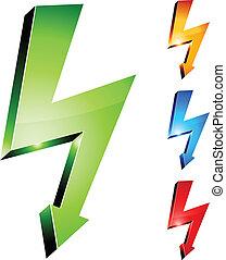 electricidade, aviso, symbols.