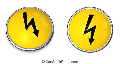 electricidade, botão, símbolo