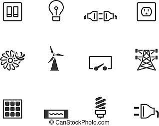 electricidade, bw, -, ícones