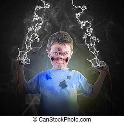 electricidade, ciência, menino, com, plugues