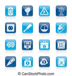 electricidade, energia, ícones