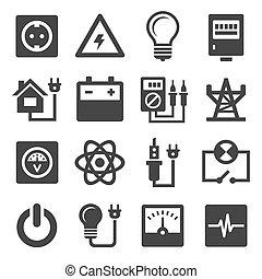 electricidade, energia, jogo, ícones