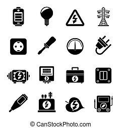 electricidade, energia, poder, ícones