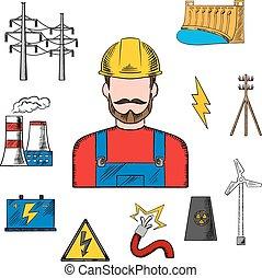 electricidade, esboço, indústria, poder, ícones