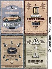 electricidade, estação, vetorial, poder, energia