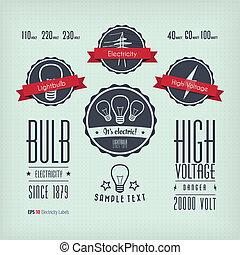 electricidade, etiquetas