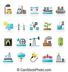 electricidade, fonte, energia, ícones